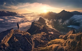 High mountain, clouds, sky, sunshine, man HD wallpaper