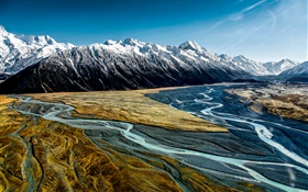 Hooker Valley, Aoraki Mount Cook National Park, New Zealand, mountains HD wallpaper