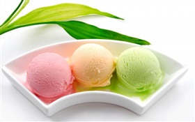 Ice cream balls, colorful, pink orange green HD wallpaper