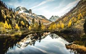 Lake, mountains, trees, clouds, water reflection HD wallpaper