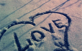 Love hearts in the snow HD wallpaper