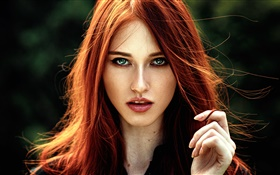 Lovely red hair girl, blue eyes HD wallpaper