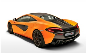 McLaren 570S coupe orange supercar back view