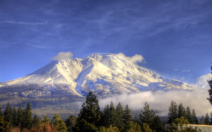 Mountain, snow, trees, clouds, Shasta, California, USA Wallpapers Pictures Photos Images