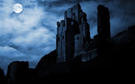 Night, moon, ruins, fortress, clouds
