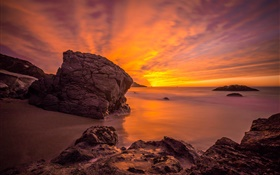 Ocean sunset, coast, rocks, clouds, red sky HD wallpaper