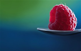 One red raspberry, spoon HD wallpaper