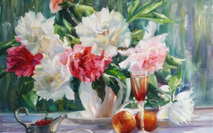 Peonies flowers painting Wallpapers Pictures Photos Images