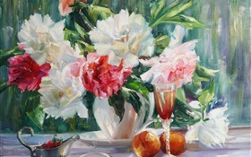 Peonies flowers painting HD wallpaper