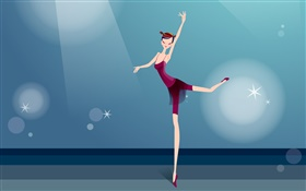 Purple dress girl beautiful dance, vector pictures HD wallpaper