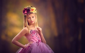 Purple dress little girl, wreath, child HD wallpaper