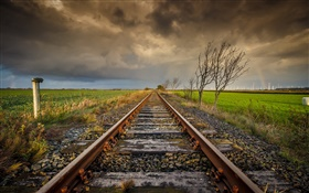 Railway, trees, clouds, dusk HD wallpaper