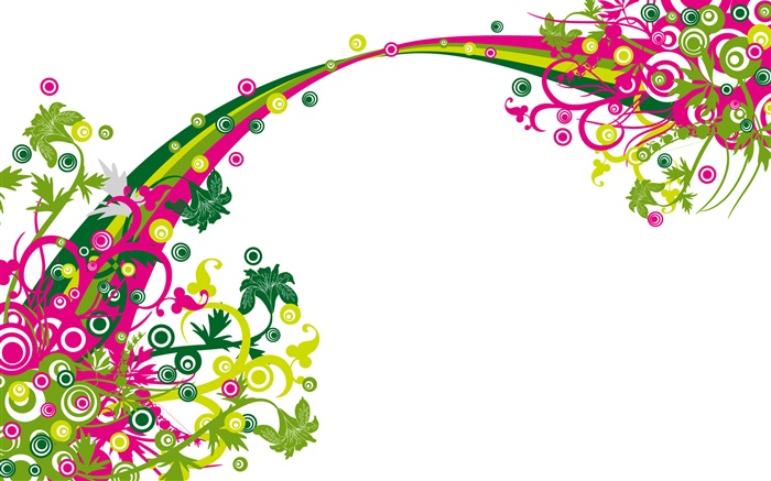 Rainbow bridge, flowers, vector design Wallpapers Pictures Photos Images