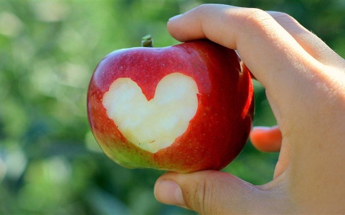 Red apple, love hearts, hand Wallpapers Pictures Photos Images