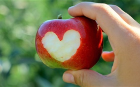 Red apple, love hearts, hand HD wallpaper