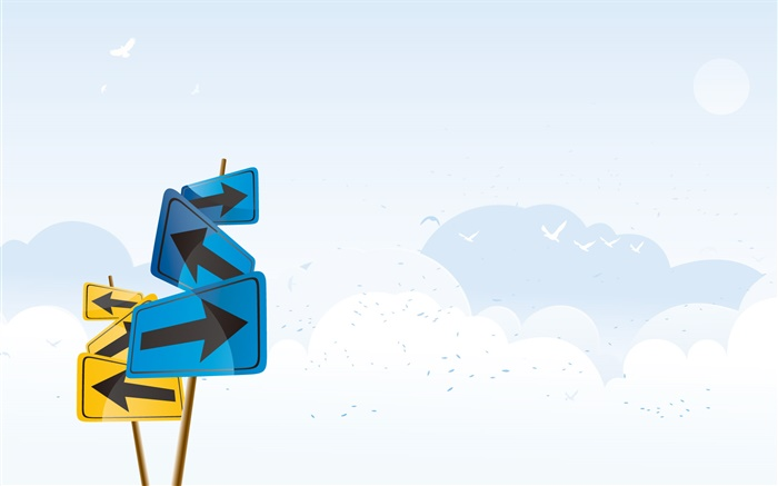 Road signs, clouds, vector design Wallpapers Pictures Photos Images