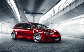 Seat Leon red car side view HD wallpaper