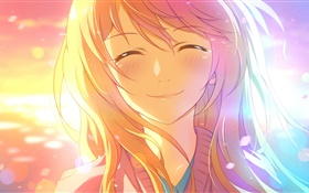 Smile anime girl under sun HD wallpaper