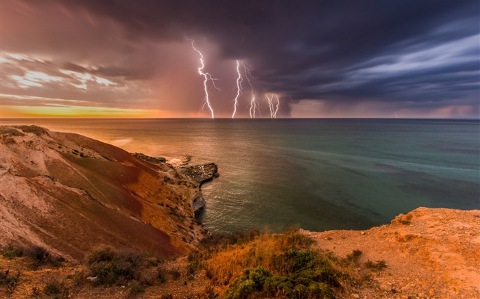 South Australia, storm, clouds, lightning, sea, coast Wallpapers Pictures Photos Images