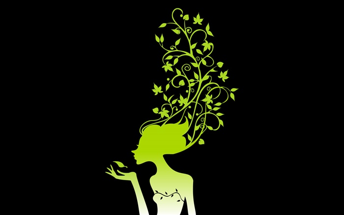 Spring girl, plants, leaves, black background, vector pictures Wallpapers Pictures Photos Images