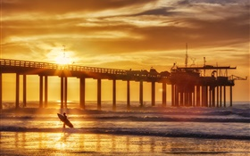 Sunset, coast, summer, pier, surfer, sea, waves HD wallpaper