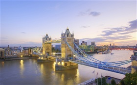 Tower Bridge, River Thames, dusk, London, England HD wallpaper