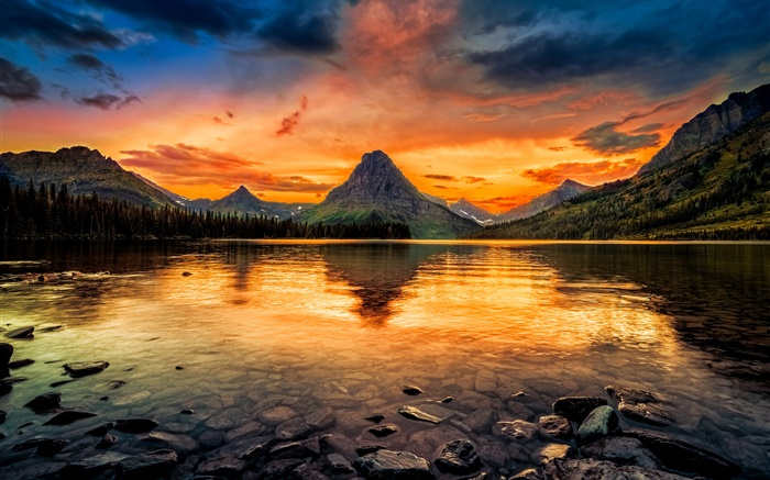 Two Medicine Lake, Glacier National Park, USA, mountains, sunset, red sky Wallpapers Pictures Photos Images