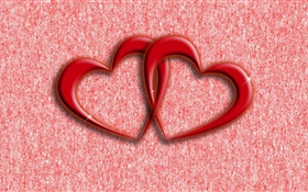 Two red love hearts, abstract background HD wallpaper