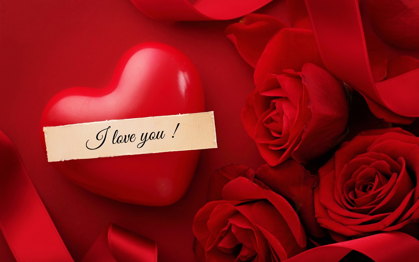 Valentine's Day, I love you, heart, red rose flowers 1440x900 wallpaper
