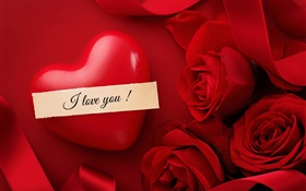 Valentine's Day, I love you, heart, red rose flowers HD wallpaper