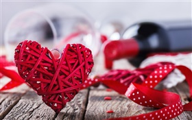 Valentine's Day, red love heart, wine, romantic HD wallpaper