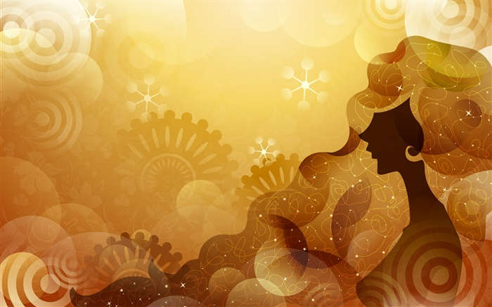 Vector design girl, orange background, stars Wallpapers Pictures Photos Images