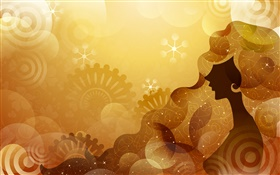 Vector design girl, orange background, stars HD wallpaper