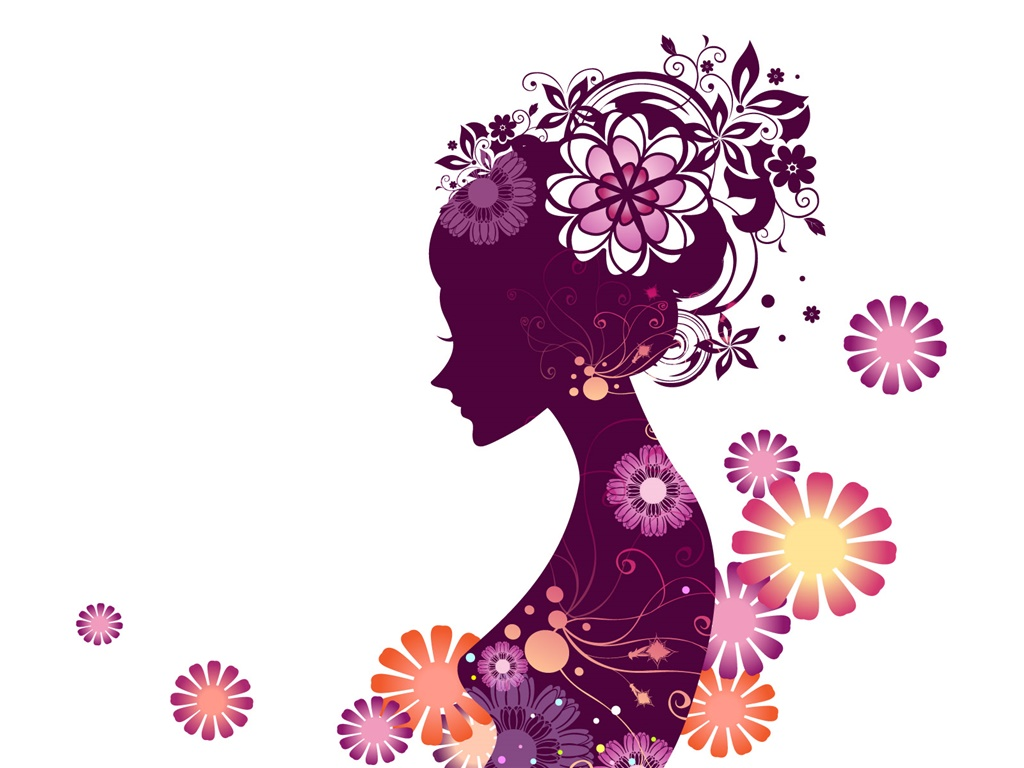 Vector young girl, flowers, white background 1024x768 wallpaper