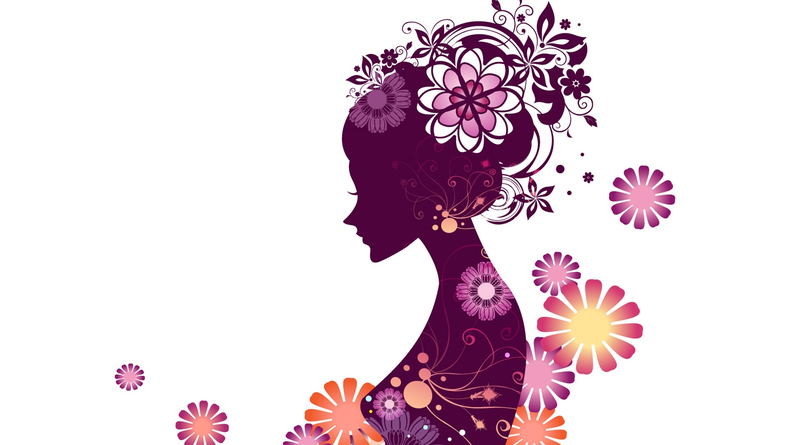Vector young girl, flowers, white background 1600x900 wallpaper