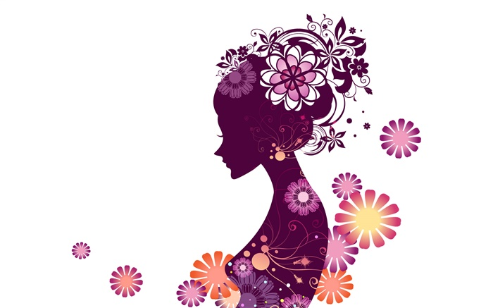 Vector young girl, flowers, white background Wallpapers Pictures Photos Images