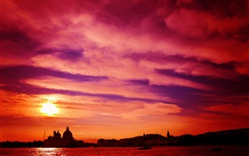 Venice, Italy, river, sunset, red sky HD wallpaper