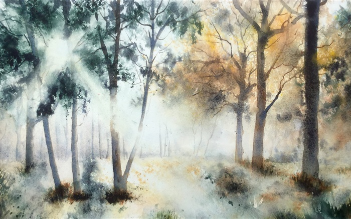 Watercolor painting, trees Wallpapers Pictures Photos Images