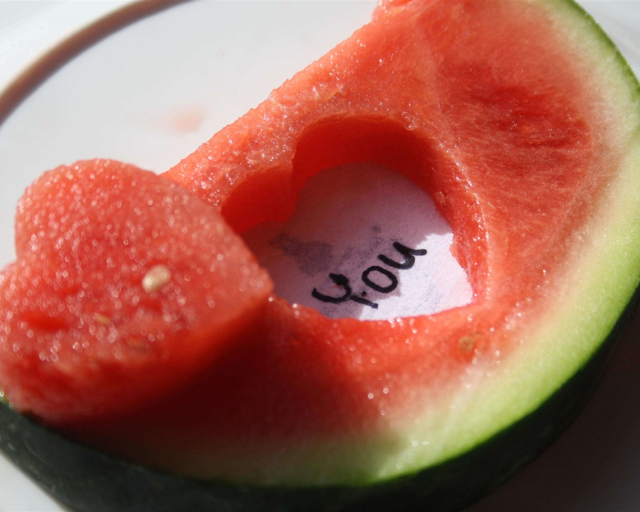 Watermelon, love hearts 1280x1024 wallpaper