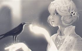 White style fantasy girl and raven HD wallpaper