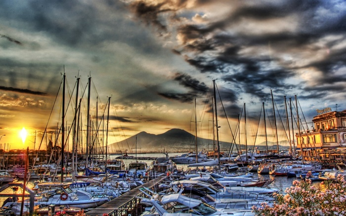 Yachts, boats, pier, clouds, sunset, Italy, Naples Wallpapers Pictures Photos Images