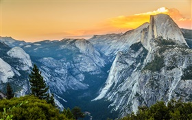 Yosemite National Park, mountains, clouds, America HD wallpaper