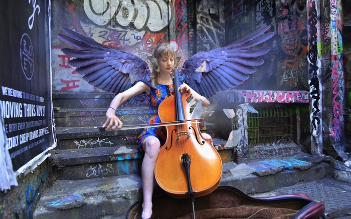 Angel girl play cello, wings Wallpapers Pictures Photos Images