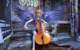 Angel girl play cello, wings HD wallpaper