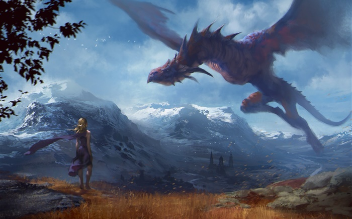 Art painting, fantasy girl and dragon, wings Wallpapers Pictures Photos Images