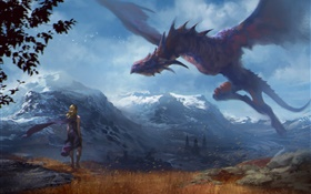 Art painting, fantasy girl and dragon, wings HD wallpaper