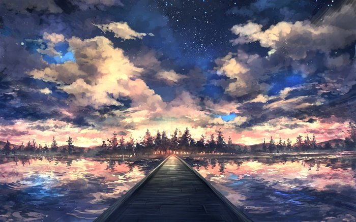 Bridge, river, trees, sky, clouds, sunset, art drawing Wallpapers Pictures Photos Images