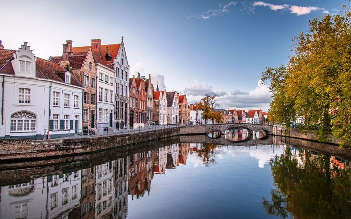 Brugge, Belgium, city, houses, bridge, river, trees Wallpapers Pictures Photos Images