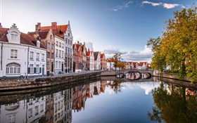 Brugge, Belgium, city, houses, bridge, river, trees