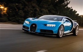 Bugatti Chiron blue supercar speed HD wallpaper
